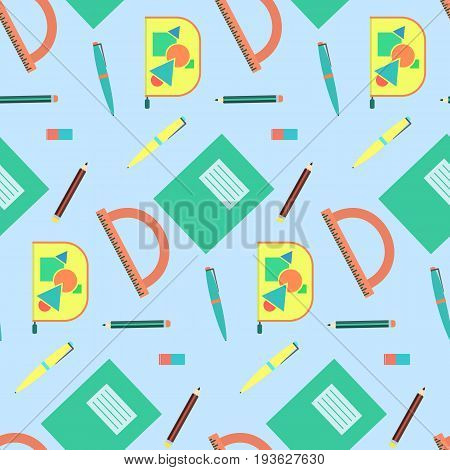 Cute cartoon school equipment seamless pattern. Nice colorful texture with education tools for kids textile background wallpaper banner cover surface