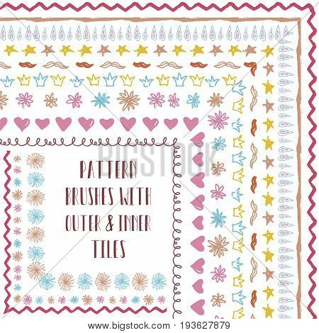 Vector Colorful Flexible, Easy to Reshape and Resize Pattern Brushes Collection. With outer and inner tiles corners. Hand-drawn Doodle Style