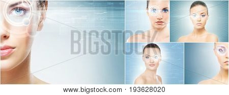 Healthy women with a laser hologram on eyes. Collage about eye scanning technology, ophthalmology and surgery. Futuristic concept.