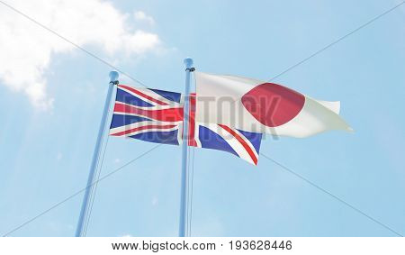 Great Britain and Japan, two flags waving against blue sky. 3d image