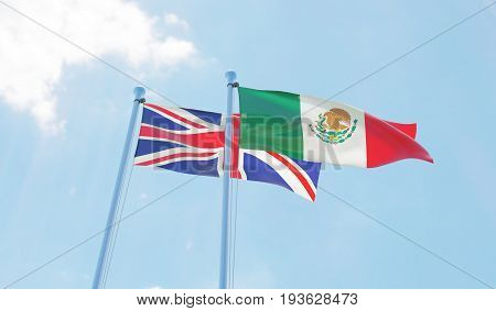 Great Britain and Mexico, two flags waving against blue sky. 3d image