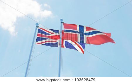 Great Britain and Norway, two flags waving against blue sky. 3d image