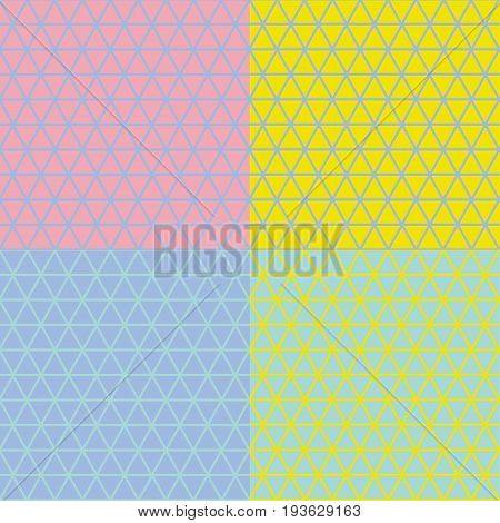 Concept geometry line seamless pattern. Vector illustration for surface design, header, poster, background in summer vivvid color. Triangle grid motif.