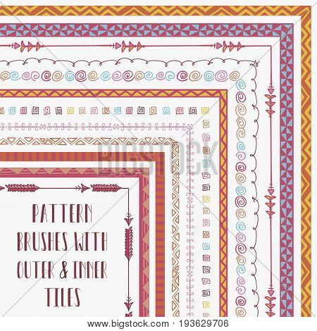 Vector Colorful Flexible, Easy to Reshape and Resize Pattern Brushes Collection. With outer and inner tiles corners. Hand-drawn Boho Tribal Style
