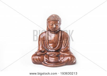 Wooden Buddha figurine isolated on white background
