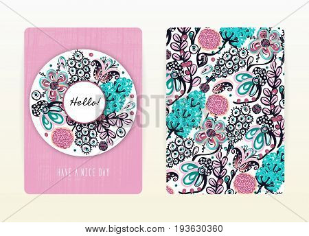 Cover design with floral pattern. Hand drawn creative flowers. Colorful artistic background with blossom. It can be used for invitation card cover book notebook. Size A4. Vector illustration eps10