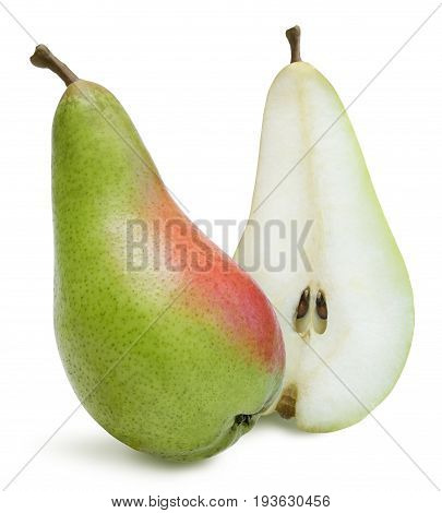 Whole pear and halved isolated over white