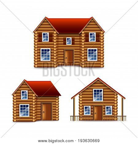 Wooden house set isolated photo-realistic vector illustration