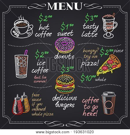 Cafe menu design on chalkboard vector illustration