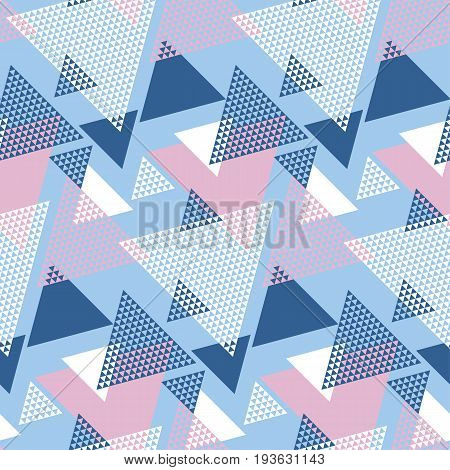 Blu and rosy color geometry modern motif vector illustration. Mosaic triangle seamless pattern for wrapping paper, background, fabric, surface design.