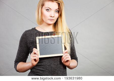Woman Holding Blank Black Board