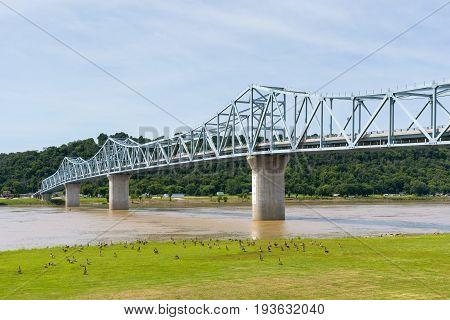 The Milton-Madison bridge spans the Ohio River between Milton Kentucky and Madison Indiana.