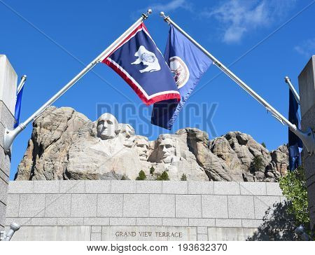 KEYSTONE, SOUTH DAKOTA - JUNE 23, 2017: Mount Rushmore National Memorial. Gutzon Borglums tribute presidents George Washington, Thomas Jefferson, Theodore Roosevelt and Abraham Lincoln.