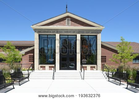 CODY, WYOMING - JUNE 24, 2017: Historic Cody Mural and Museum. the site offers a powerful glimpse into the western expansion of Mormon pioneers in the late 1800s