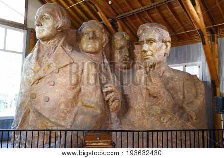 KEYSTOINE, SOUTH DAKOTA - JUNE 23, 2017: Plaster Model in the Sculptors Studio at Mount Rushmore National Memorial. Gutzon Borglums second on-site studio built in 1939.