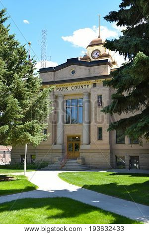 CODY, WYOMING - JUNE 24, 2017: Park County Courthouse. the historic building was restored by Park County citizens interest and concern for their past heritage.