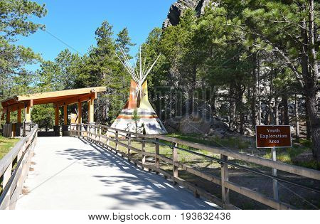 KEYSTONE, SOUTH DAKOTA - JUNE 23, 2017: Youth Exploration Area at Mount Rushmore. The area at the base of the monument is a multi-use facility for kid-friendly activities.