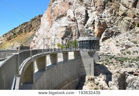CODY, WYOMING - JUNE 24, 2017: Buffalo Bill Dam Visitor Center and Walkway. The dam on the Shoshone River is named after the famous wild west figure William Buffalo Bill Cody.