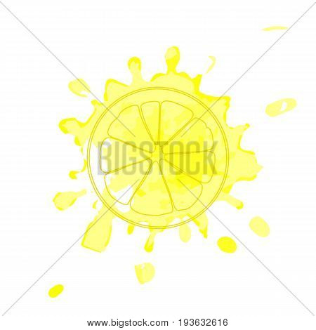 Isolated yellow outline slice of lemon on yellow watercolor spot of juice. Blot print of curve lines