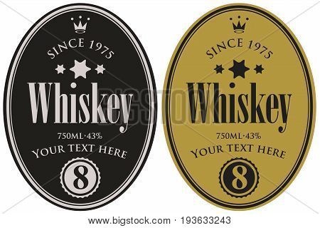 Vector set of two labels for whiskey in the oval frame with crown and inscription on dark background in retro style