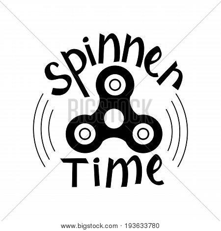 Hand Spinner emblem. Spinner time. illustration on white background
