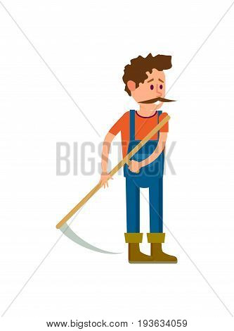 Farmer with scythe for grass icon. Agricultural farming vector illustration isolated on white background.