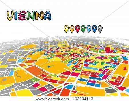 Vienna, Austria, Downtown 3D Vector Map