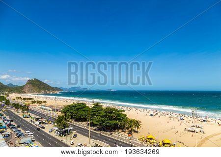 RIO DE JANEIRO, BRAZIL - CIRCA JAN 2014: Aerial view of Copacabana beach in Rio de Janeiro, Brazil