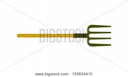 Garden pitchfork or hayfork icon. Agricultural farming equipment vector illustration isolated on white background.