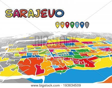 Sarajevo Downtown 3D Vector Map