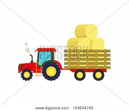Tractor with hay on trailer icon. Rural industrial farm equipment machinery, agricultural vehicle isolated vector illustration in flat design.