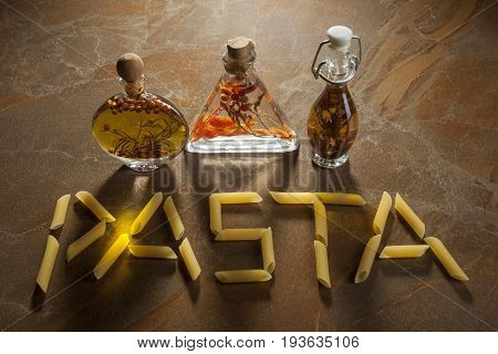 Bottles Extra Virgin Olive Oil With Spices And Inscription