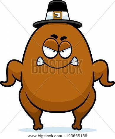 Angry Cartoon Turkey Pilgrim