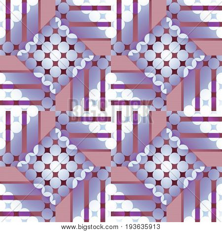 Abstract geometric seamless background. Regular circles and diamond pattern with stripes shifted. Elements in purple and light brown shades with white.