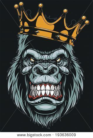 Vector Illustration Ferocious Gorilla Head On With Crown White Background