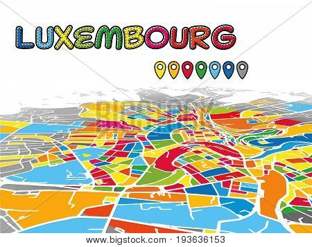 Luxembourg Downtown 3D Vector Map