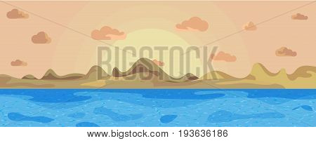 Landscape beautiful sea on a background mountains and sun vector illustration. Landscape sunset against background mountains and sea. Sunset in sea