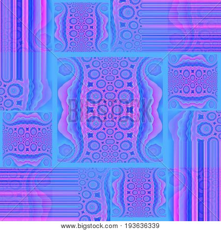 Abstract geometric background. Regular squares and rectangles pattern with circle elements and stripes  azure blue, violet, magenta and purple shifted.