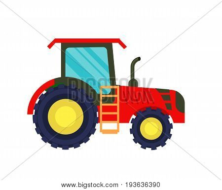 Modern agriculture tractor icon. Rural industrial farm equipment machinery, agricultural vehicle isolated vector illustration in flat design.