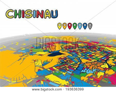 Chisinau, Moldova, Downtown 3D Vector Map