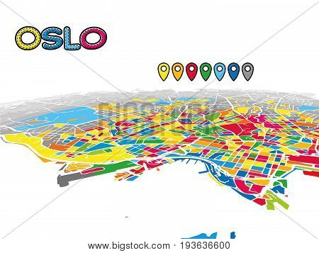 Oslo, Norway, Downtown 3D Vector Map