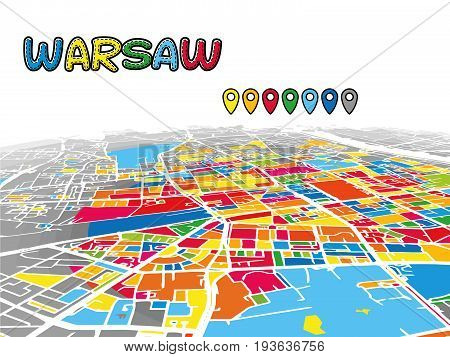 Warsaw, Poland, Downtown 3D Vector Map