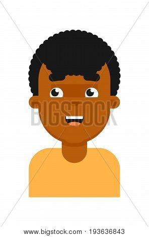 Dreamy facial expression of black boy avatar. Young african man face, people emoticon icon, emoji vector illustrations isolated on white background.