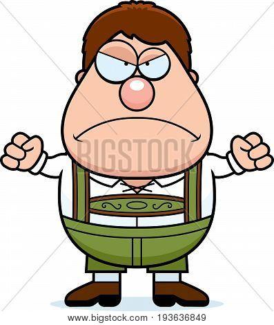 Cartoon Lederhosen Boy Angry