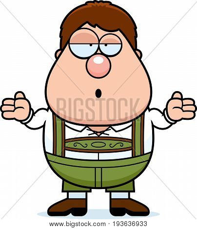 Cartoon Lederhosen Boy Shrug