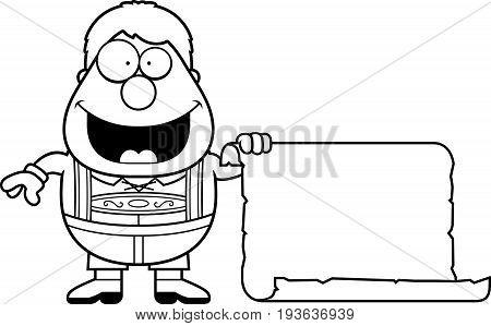 Cartoon Lederhosen Boy Sign