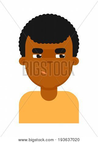 Insidious facial expression of black boy avatar. Young african man face, people emoticon icon, emoji vector illustrations isolated on white background.