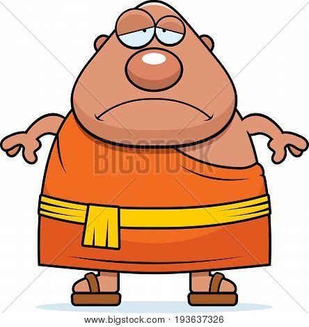 Sad Cartoon Buddhist Monk