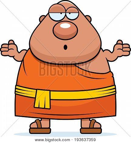 Confused Cartoon Buddhist Monk