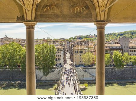 Saint Angel bridge over the river Tiber viewed from the Castel Sant Angelo terrace in Roma Italy